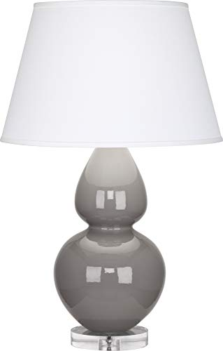 Robert Abbey A750X Lamps with Pearl Dupioni Fabric Shades, Lucite Base/Smokey Taupe Glazed Ceramic Finish