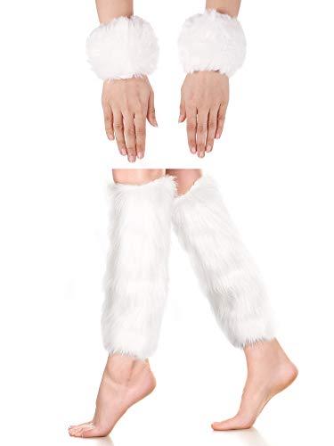 White Fur Leg Warmers (2 Pairs Faux Fur Cuffs Furry Long Leg Warmer Wrist Cuff Warmer Boot Cuff)