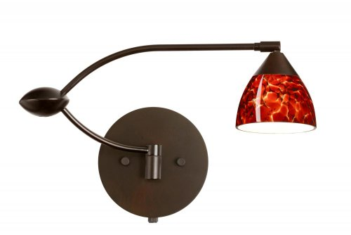 Besa Lighting 1WU-185841-BR 1X50W MR16 Divi Wall Sconce with Garnet Glass, Bronze Finish