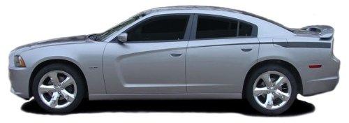 RECHARGE QP : 2011-2014 Dodge Charger RECHARGE QP Rear Quarter Panel Side Body Line Vinyl Graphic Decal Stripes (Fits SE SXT RT HEMI ALL MODELS) (Color-3M 5095 Matte Black) (Dodge Charger Quarter Panel)