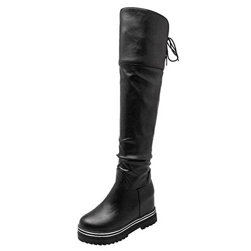 AIYOUMEI Damen Slip-on Plateau Keilabsatz Overknee Stiefel mit 8cm Absatz Winter Bequem Shoes Schwarz