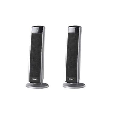 Lasko 5586 Digital Ceramic Tower Heater with Remote, Dark Grey (2-Pack)