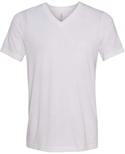 Yoga Clothing For You Mens Tri Blend V-Neck Tee Shirt (Mens XXL, Solid White Triblend) - Fashion Tri Blend T-shirt