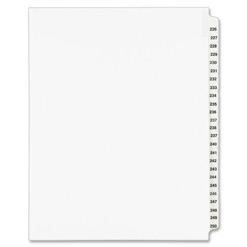 Avery Legal Dividers, Standard Collated Sets, Letter Size, Side Tabs, 226-250 (01339) supplier