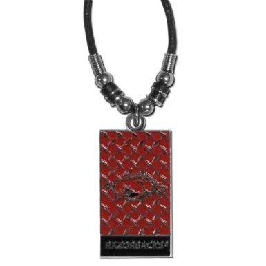 Ncaa Arkansas Razorbacks Diamond Plate - NCAA Arkansas Razorbacks Diamond Plate Rope Necklace, 20-Inch