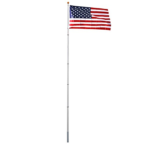 ZENY 16FT/20FT/25FT Aluminum Flagpole Telescopic Flag Pole Outdoor Residential Telescoping Flagpole Kit with Golden Ball Topper and 3'x5' American Flag (20ft)