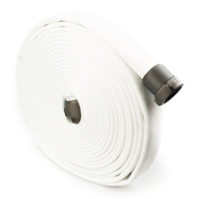 White 1.5'' x 100' Double Jacket Industrial Hose (Alum NH Couplings) by FireHoseDirect