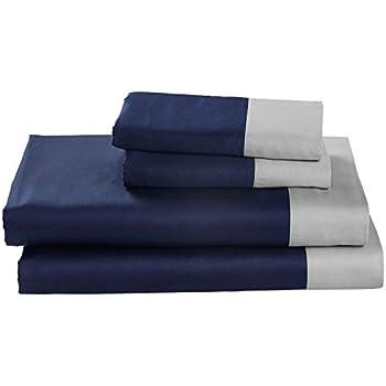 Rivet Color Block 100% Supima Cotton Bed Sheet Set, King, Navy / Cloud Blue