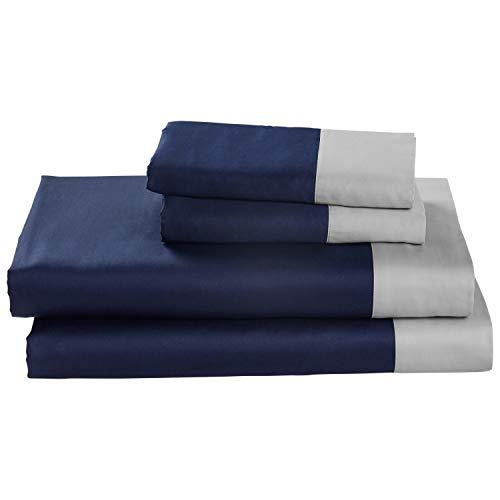 Rivet Color Block 100% Supima Cotton Bed Sheet Set, California King, Navy / Cloud Blue