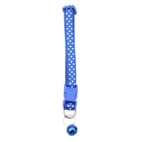 VWH 1pcs Pets Dogs Cat Handmade Cute Dot with Bell Safety Pets Collar Dog Collar (blue)