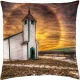 halo around a wonderful country church hdr - Throw Pillow Cover Case (18