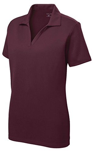 Collar Shirt Polo Mesh - Women's Dri-Equip Short Sleeve Racer Mesh Polo Shirt-L-Maroon