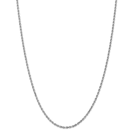 NYC Sterling Unisex Sterling Silver 2.5MM Diamond-Cut Rope Chain Necklace- (Sterling Silver 22 Inch Rope)