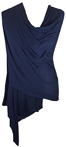 Ladies Jersey Scarf Wrap Stole Warm Soft Stretchy (Dark (Navy Blue Jersey Scarf)