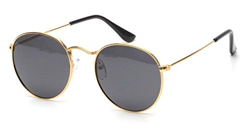 New Women Retro Round Alloy Frame Sunglasses Brand Designer Women Round Sunglasses Polarizes, Gold Frame Black - Ban Ray Look Alike