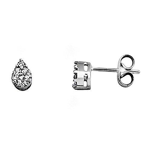 Boucled'oreille 18k or blanc 0.21ct diamant brillant teardrop [AA6559]
