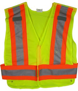 - ANSI 207-2006 Public Service Safety Vests - Mesh Lime with Orange/Silver Stripes - 5 Point Velcrow Tearaway - Standard Size