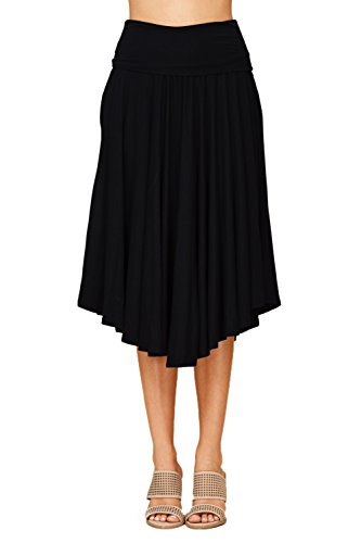Annabelle Womens Fold Over Waistband Comfy A Line Flowy Midi Skirts with Side Pockets