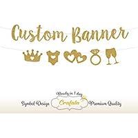 Custom Glitter Banner, Custom Glitter Garland, Garland, Wedding Banner, Wedding Garland, Personalized, golden
