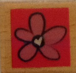 """XOXO - Small Flower with Heart Center - Wood Mounted Rubber Stamp 1"""" x 1"""""""