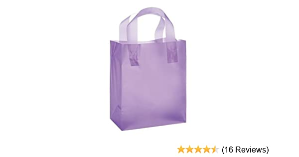 JS Frosted Plastic Shopping Gift Bags Clear 8x5x10 - Quantity of 100