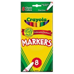 - Non-Washable Markers, Fine Point, Classic Colors, 8/Set