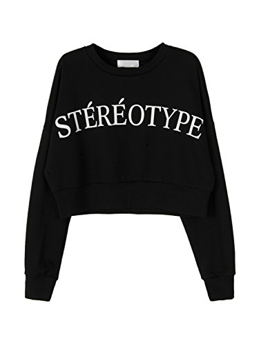 Sweatshirt Print Jersey - Joeoy Women's Black Letter Print Crop Top Sweatshirt Hoodie-XL