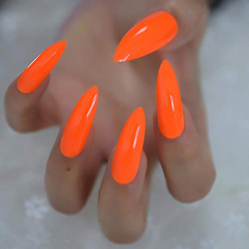 CoolNail Pure Deep Orange Extra Long Sharp Stiletto False Nails Tips 24pcs Press On Stilettos Nails For Fingers Wear 1pc Glue Sticker -