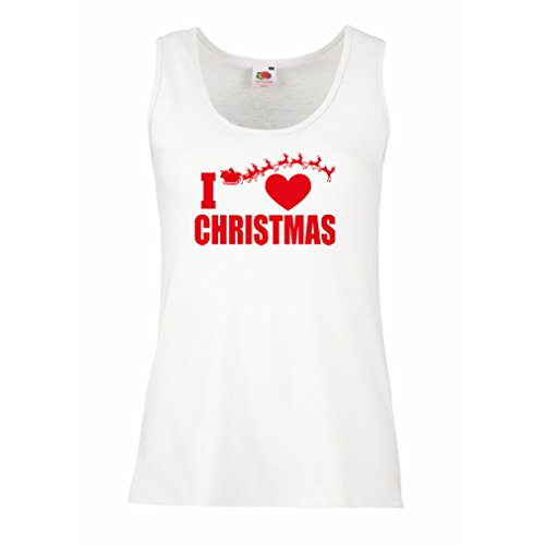 (lepni.me Womens Tank Tops I Love Christmas - Xmas Outfits, Santa and The Reindeers (Large White Multi)
