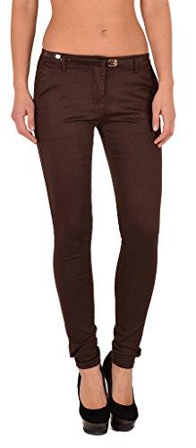 by-tex Femme Jean Skinny Slim Taille Basse Pantalon Grandes Tailles J245 Xj187-marron