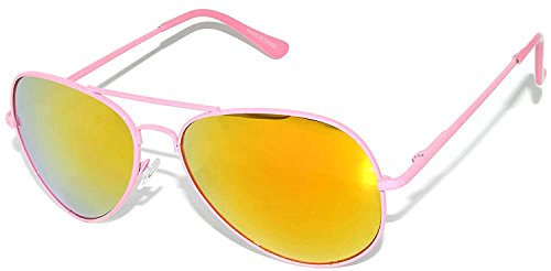 Stylish Neon Pink Metal Frame Aviator Sunglasses with Flash Mirror Lens Gold-Red Color Spring Hinge]()