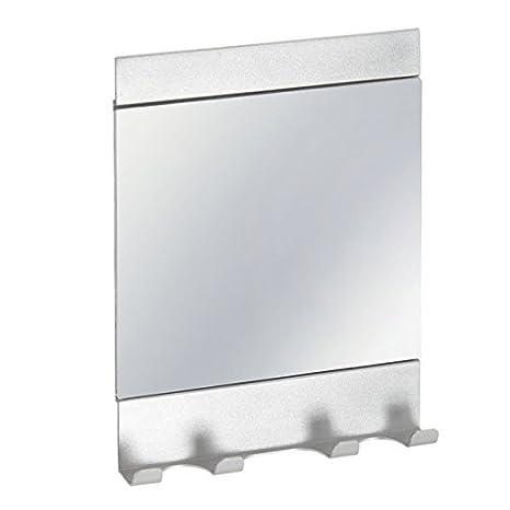iDesign 21950EU Affixx Stark Selbstklebender Metro Dusch und Badezimmerspiegel mit Haken für Rasierer, 15,7 x 3 x 21,4 cm, silber, Aluminum