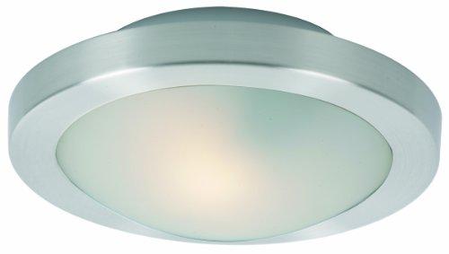 ET2 Lighting E53831-09SN Flush Mount with Frost White Glass Shade, Satin Nickel Finish