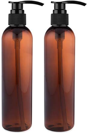 (Empty Lotion Pump Bottles, BPA-Free Refillable Plastic 8 Oz Amber PET Containers, Great for - Soap, Shampoo, Lotions, Liquid Body Soap, Creams and Massage Oil's, 2 Pack)
