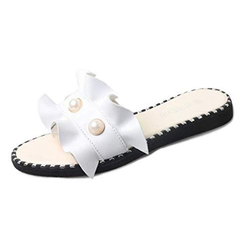Blanc Diamant Slippers Ouvertes Assiettes Zhrui on Blanc 6 Taille Femme Slip couleur Uk wZ8qBS