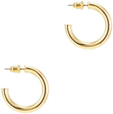 PAVOI 14K Gold Plated Hoop Earrings For Women | 3.5mm Thick Infinity Gold Hoops Women Earrings | Gold Plated Loop Earrings For Women | Lightweight Hoop Earrings Set For Girls