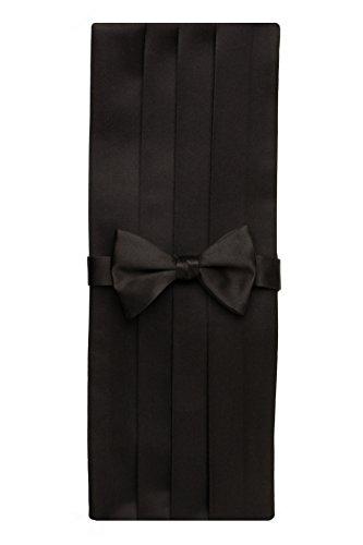 David-Donahue-Mens-Satin-Silk-Pre-tied-Bow-Tie-Cummerbund-Set-Black-CP100001