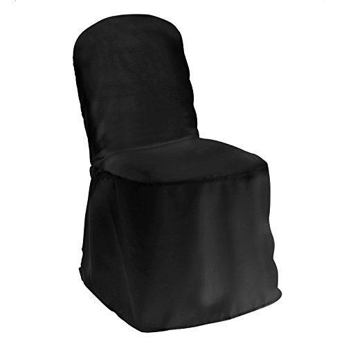 Lann's Linens Premium Polyester Banquet Chair Cover - for Wedding or Party Use - Black - 1pc