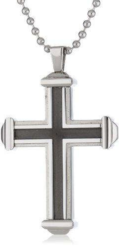 UPC 736966613366, Men's Two-Tone Black Stainless Steel Cross Pendant Necklace