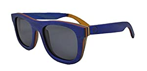 Skateboard Wooden Sunglasses, Wood Sun Glasses with Polarized Lenses, Wayfarer