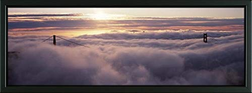 (Easy Art Prints Panoramic Images's 'Suspension Bridge Covered with Fog viewed from Hawk Hill, Golden Gate Bridge, San Francisco Bay, San Francisco, CA' Framed Canvas - 36