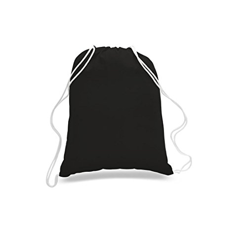 Great Deal! (12 Pack) 1 DOZEN Budget Friendly Sport Drawstring Backpack%100 Cotton Bags for Sport,Gym or Promotional Plain Backpacks (BLACK) by Georgiabags