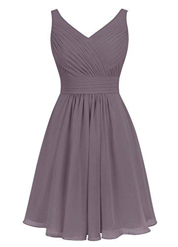 Dresses Bridesmaid Neck Short Cdress Evening Cocktail Chiffon Dress Gray V Gowns Wedding 6pS6xq