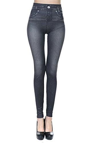 Demi Slim Jeans - Cute Demi Women Fleece Lined Genie Slim Two Real Pockets Jegging Jean Leggings Plue Size Black S