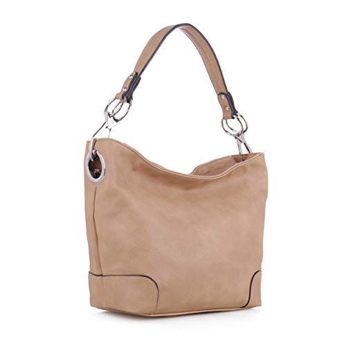 Lydia Concealed Carry Lock and Key Hobo Handbag (Beige)