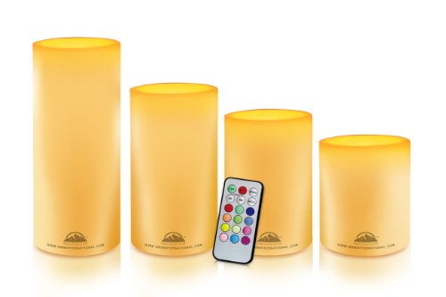WBM HG1204 Himalayan Glow Pillar Flameless Candles with 18 Keys Remote Control, 4-Piece