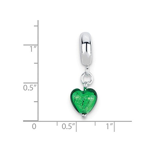 Sterling Silver Reflections Green Heart Italian Murano Dangle Bead (Reflections Silver Sterling Green)