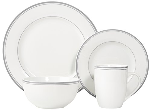 AmazonBasics 16-Piece Cafe Stripe Dinnerware Set, Service for 4 - Grey by AmazonBasics (Image #4)