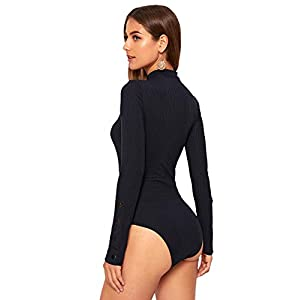 Verdusa Women's High Neck Long Sleeve Knit Bodysuit