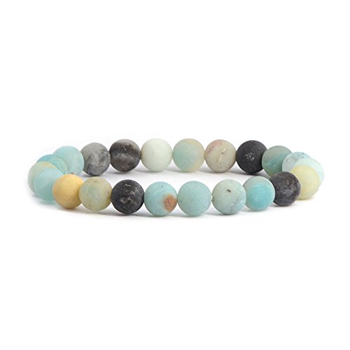 Natural Matt Multicolor Amazonite Gemstone 8mm Round Beads Stretch Bracelet 7